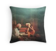 morning at temple Throw Pillow