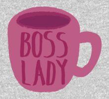 BOSS LADY pink cup of coffee Kids Tee