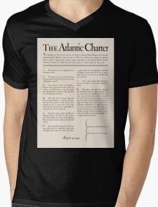 United States Department of Agriculture Poster 0166 The Atlantic Charter Franklin Delano Roosevelt Winston Churchill August 14 1941 Mens V-Neck T-Shirt