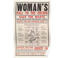 United States Department of Agriculture Poster 0255 Woman's Call to the Colors Save the Waste Poster