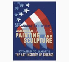 WPA United States Government Work Project Administration Poster 0365 American Painting and Sculpture Art Institute of Chicago Annual Exhibition One Piece - Short Sleeve