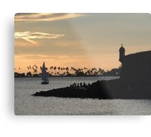 Sail boat and El Morro Castle at dusk Metal Print