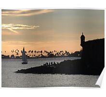 Sail boat and El Morro Castle at dusk Poster