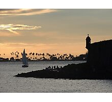 Sail boat and El Morro Castle at dusk Photographic Print