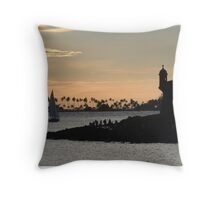 Sail boat and El Morro Castle at dusk Throw Pillow