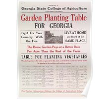 United States Department of Agriculture Poster 0061 Garden Planting Table Georgia Poster