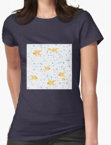 gold fish in water bubbles aqua  Womens Fitted T-Shirt