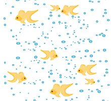 gold fish in water bubbles aqua  by LonaBon