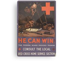United States Department of Agriculture Poster 0127 He Can Win Federal Board Provides Training Red Cross Home Services Section Canvas Print