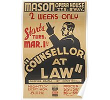 WPA United States Government Work Project Administration Poster 0784 Councilor At Law Mason Opera House Elmer Rice Poster