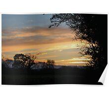 Golden Sunset Surrounds Shropshire. Poster