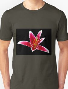 Stargazer Lily on Black Backgrund Unisex T-Shirt