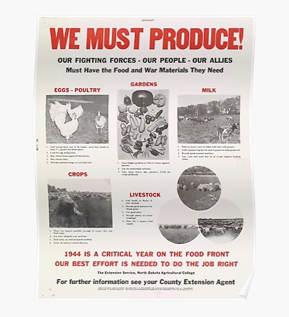 United States Department of Agriculture Poster 0066 We Must Produce Eggs Poultry Gardens Milk Crops Livestock Poster