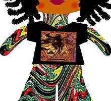 Litttle Reggae Rag Doll Wearing Mommy's Art 6 by Deborah Lazarus