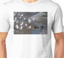 Ducklings and Mother Confronted by Seagulls Unisex T-Shirt