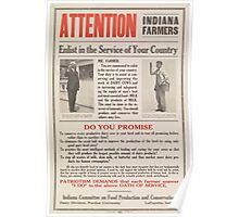 United States Department of Agriculture Poster 0215 Enlist Farmers Indiana Poster