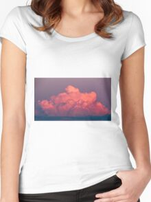 clouds in the sky at sunset colored rose Women's Fitted Scoop T-Shirt