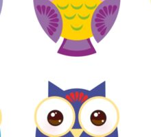 bright colorful owls on black background Sticker