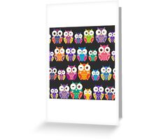 bright colorful owls on black background Greeting Card