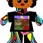 Little Soul Sister Rag Doll Wearing Mommy's Art 7 by Deborah Lazarus