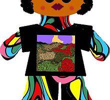 Little Soul Sister Rag Doll Wearing Mommy's Art 7 by Deborah Lazarus