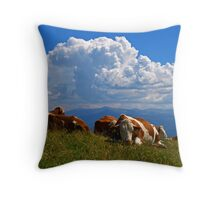 Cows on a Mountain top. Throw Pillow