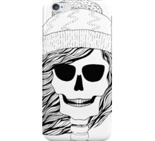 Skull girl in a hat with a flowing hair. Winter is coming. iPhone Case/Skin