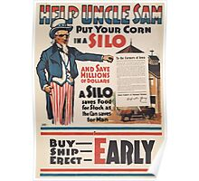 United States Department of Agriculture Poster 0102 Help Uncle Sam Put Corn in a Silo Buy Ship Erect Early Poster