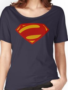 Man Of Steel Bizarro Red Textured Logo Women's Relaxed Fit T-Shirt