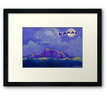 Santa and Reindeer Fly Over Sonoma County Framed Print