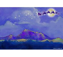 Santa and Reindeer Fly Over Sonoma County Photographic Print