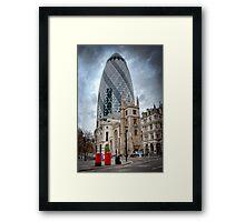 Moody Gherkin: London, UK. Framed Print