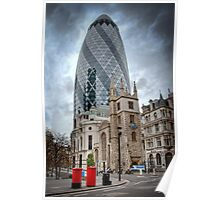 Moody Gherkin: London, UK. Poster