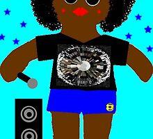Little Rapper Rag Doll Wearing Mommy's Art 8 by Deborah Lazarus