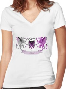 Asexual Crest Women's Fitted V-Neck T-Shirt