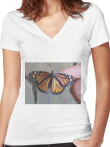 Monarch Butterfly ChangeArt Women's Fitted V-Neck T-Shirt