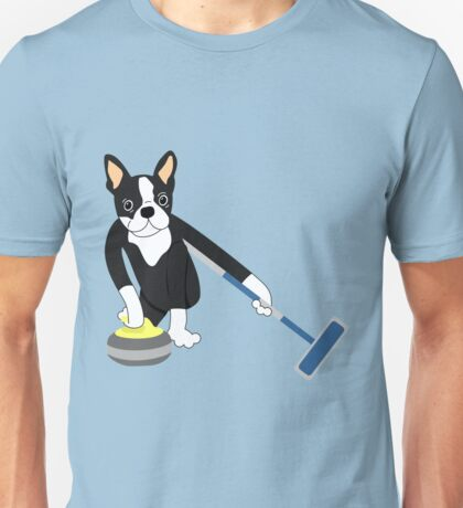 Boston Terrier Winter Olympics Curling Unisex T-Shirt