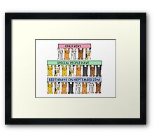 Cats celebrating birthdays on September 22nd. Framed Print