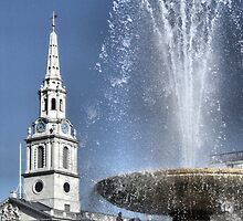 Fountain and St Martin's In The Field by Karen Martin