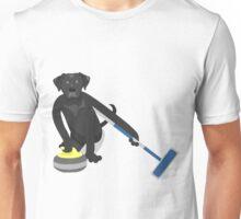 Black Labrador Retriever Curling Unisex T-Shirt