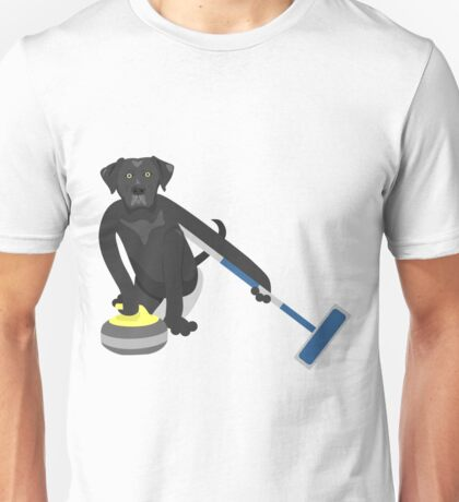 Black Labrador Retriever Curling Unisex T-Shirt