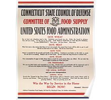 United States Department of Agriculture Poster 0200 Committee of Food Supply Save Wheat Meat Sugar Use Perishables Poster