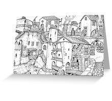 Strange Dream Village • Ink Drawing Art Print Greeting Card