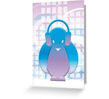 PENGUIN WITH HEADPHONE Greeting Card
