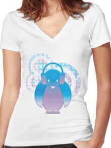 PENGUIN WITH HEADPHONE Women's Fitted V-Neck T-Shirt