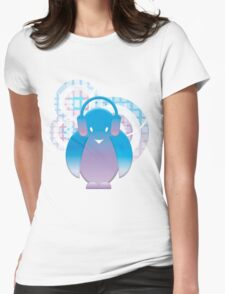 PENGUIN WITH HEADPHONE Womens Fitted T-Shirt
