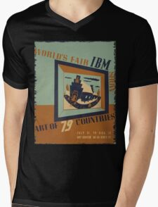 WPA United States Government Work Project Administration Poster 0745 World's Fair IBM Show Mens V-Neck T-Shirt