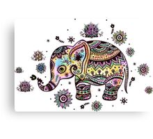 Cute Colorful Floral Baby Elephant Canvas Print
