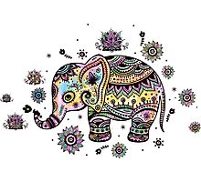 Cute Colorful Floral Baby Elephant Photographic Print