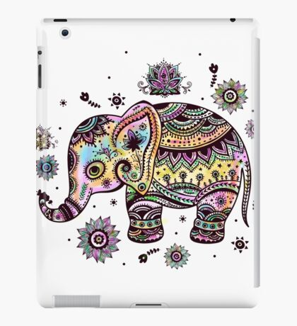 Cute Colorful Floral Baby Elephant iPad Case/Skin